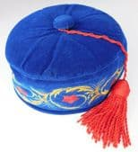 Imperial smoking hat cap Blue with red tassel Embroidered flowers 54 cm Small S
